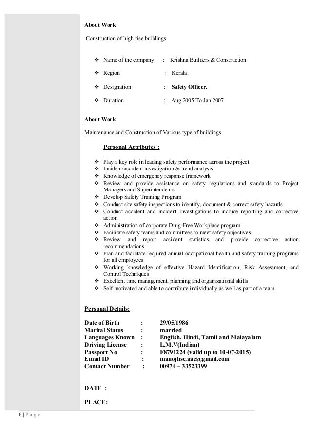 Safety Officer Resume India. Health And Safety Officer Sample