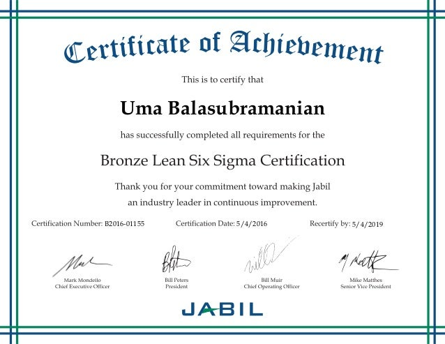 Bronze Lean Six Sigma Certification