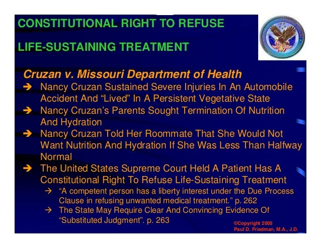 termination of nutrition and hydration Termination of artificially administered nutrition and hydration for james d butcher, il does not constitute the absence of necessary food or necessary health care and does not constitute.