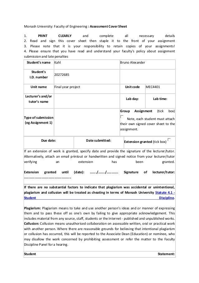 monash assignment cover sheet
