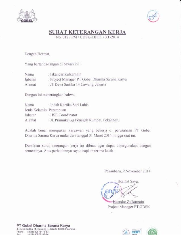 Surat Keterangan Kerja Gdsk
