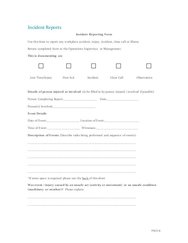 Complete Crisis Managment Plan – First Aid Incident Report Template