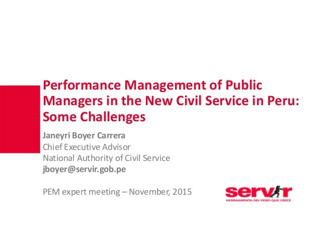 PerformanceManagementofPublic Managersinthe NewCivilService inPeru: Some Challenges JaneyriBoyer Carrera Chief ...