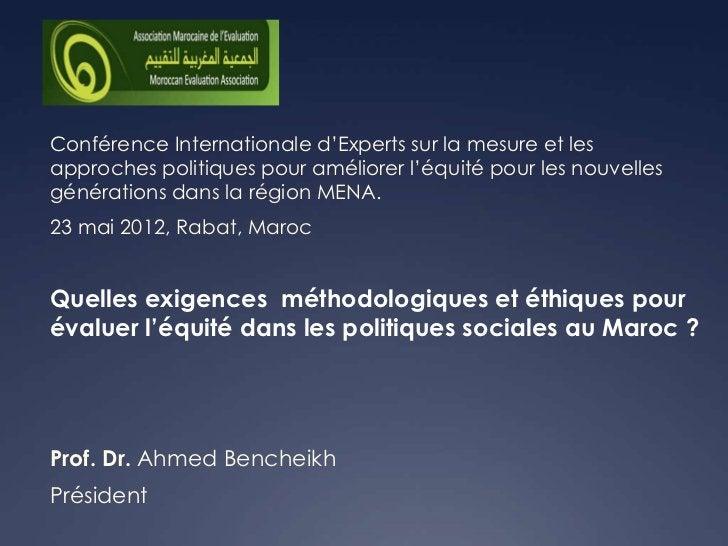 Conférence Internationale d'Experts sur la mesure et lesapproches politiques pour améliorer l'équité pour les nouvellesgén...