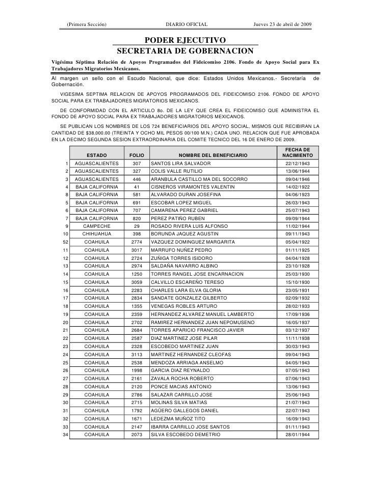 (Primera Sección)                    DIARIO OFICIAL                  Jueves 23 de abril de 2009                           ...