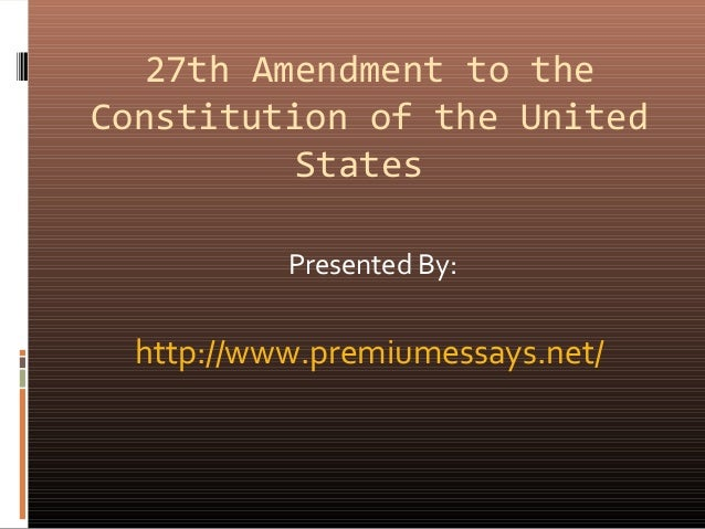27th amendment to the constitution of the united