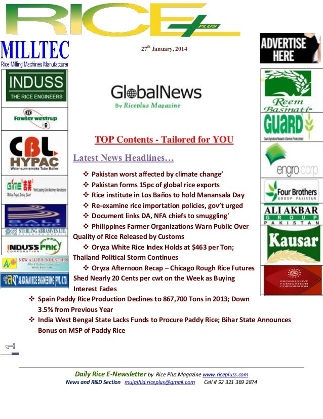 27th January, 2014  TOP Contents - Tailored for YOU Latest News Headlines…  Pakistan worst affected by climate change'  ...