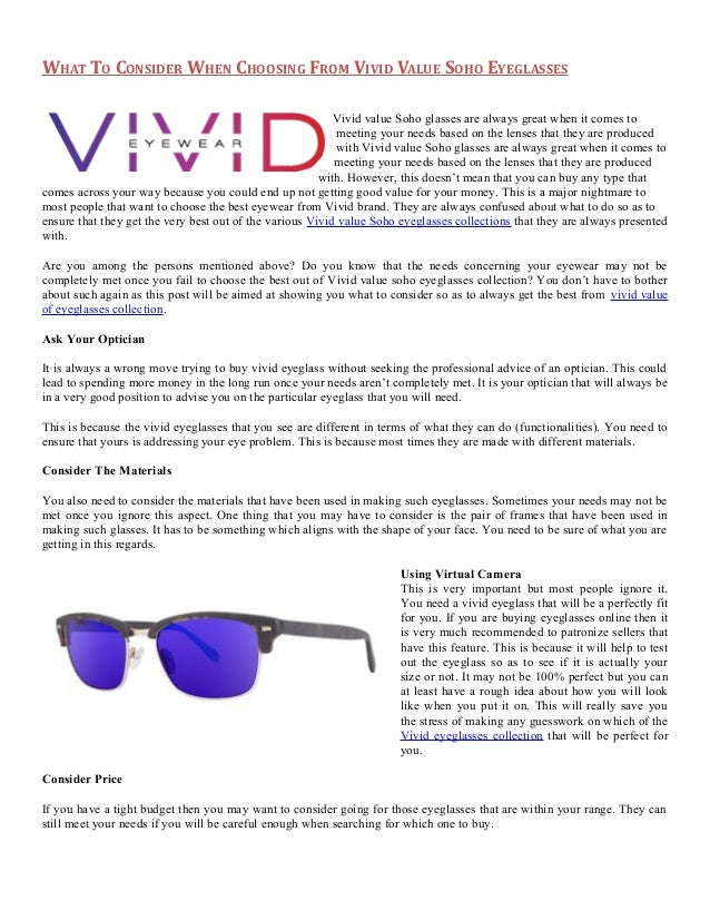 bd4aba13c9 vivid Value Soho Eyeglasses Collection from Daniel Walters