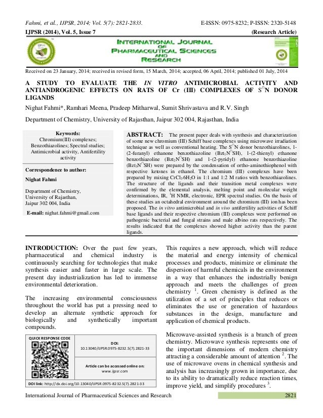 Fahmi, et al., IJPSR, 2014; Vol. 5(7): 2821-2833. E-ISSN: 0975-8232; P-ISSN: 2320-5148  International Journal of Pharmaceu...