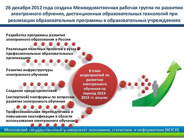 26 декабря 2012 года создана Межведомственная рабочая группа по развитию  электронного обучения, дистанционных образовател...