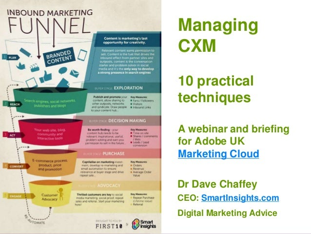 1 Managing CXM 10 practical techniques A webinar and briefing for Adobe UK Marketing Cloud Dr Dave Chaffey CEO: SmartInsig...