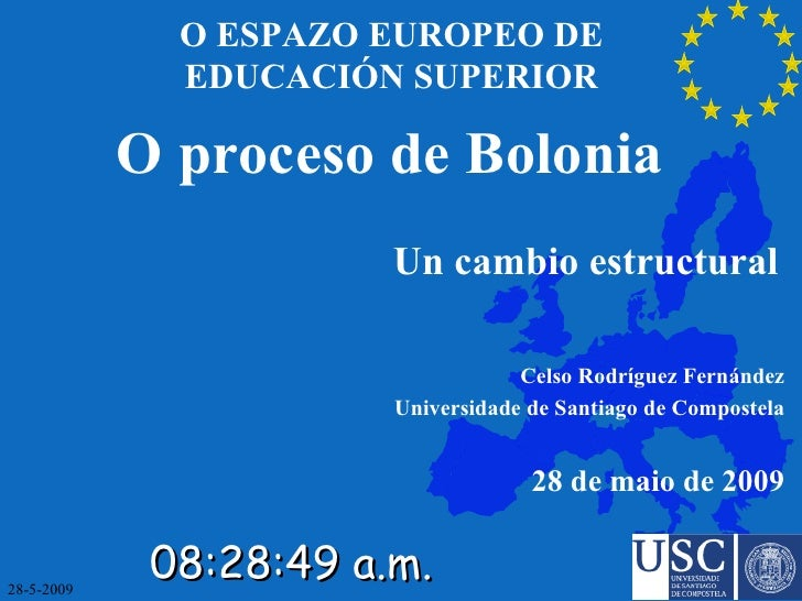 O ESPAZO EUROPEO DE EDUCACIÓN SUPERIOR <ul><ul><ul><li>O proceso de Bolonia </li></ul></ul></ul><ul><ul><ul><li>Un cambio ...
