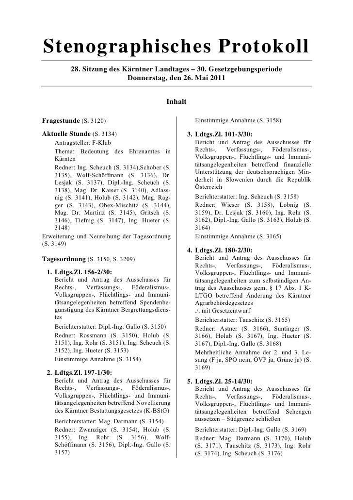 Stenographisches Protokoll          28. Sitzung des Kärntner Landtages – 30. Gesetzgebungsperiode                         ...