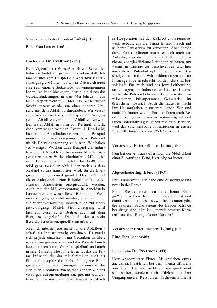 3132               28. Sitzung des Kärntner Landtages - 26. Mai 2011 - 30. GesetzgebungsperiodeVorsitzender Erster Präside...