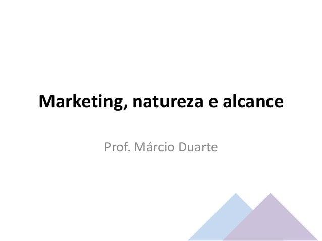 Marketing, natureza e alcance Prof. Márcio Duarte