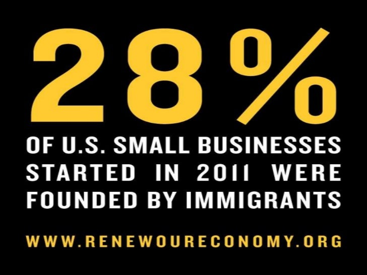 28% of all small businesses launched in 2011 were started by immigrants