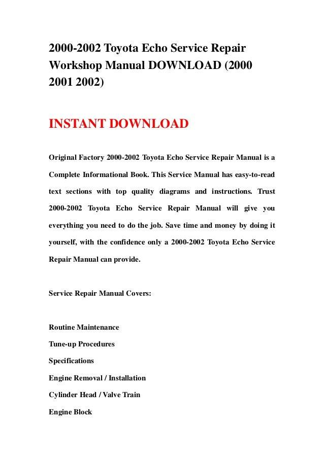 2000 2002 toyota echo service repair workshop manual download 2000 2 rh slideshare net Parts Manual Parts Manual