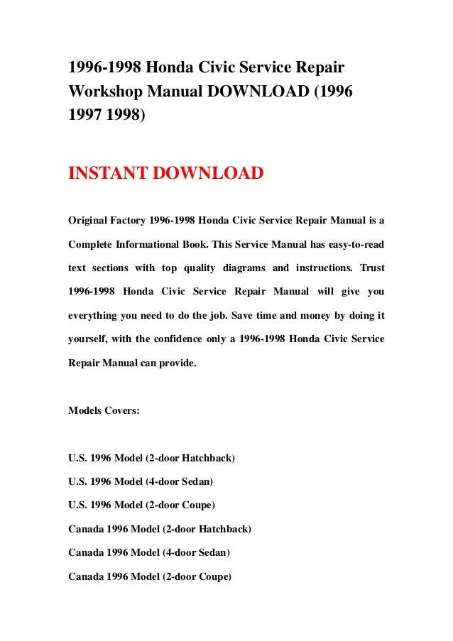 Honda civic workshop & owners manual | free download.