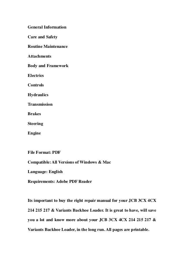 Jcb 3cx Manual Pdf