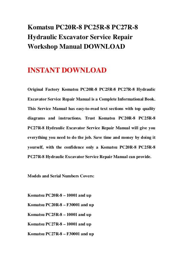download komatsu excavator pc20r 8 pc25r 8 pc27r 8 service repair shop manual
