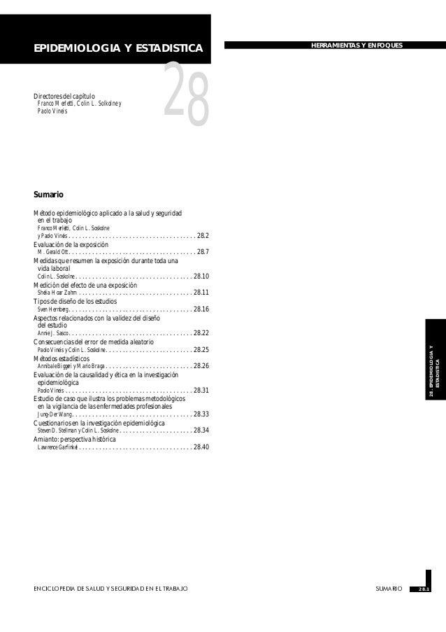 ENCICLOPEDIA DE SALUD Y SEGURIDAD EN EL TRABAJO 28.1 SUMARIO 28.1 28.EPIDEMIOLOGIAY ESTADISTICA EPIDEMIOLOGIA Y ESTADISTIC...