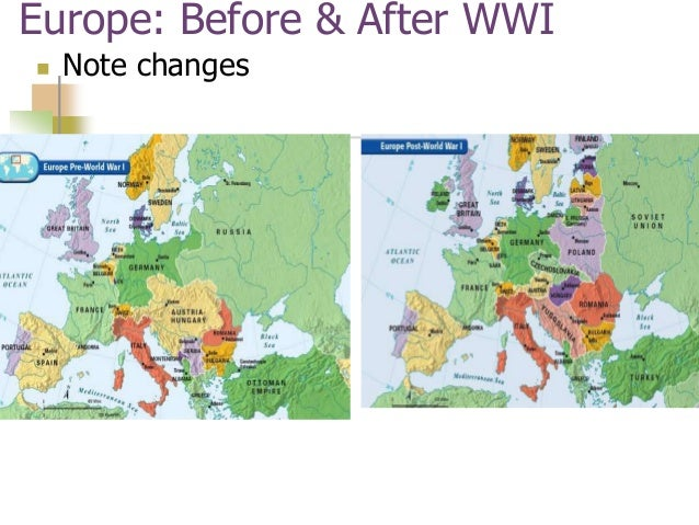 How Did Ww1 Change The Map Of Europe.Map Of Europe Pre Post Wwi