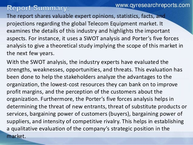 SWOT Analysis of Telecom Equipment Industry by Market Trends, Sales & Growth 2016 Slide 2