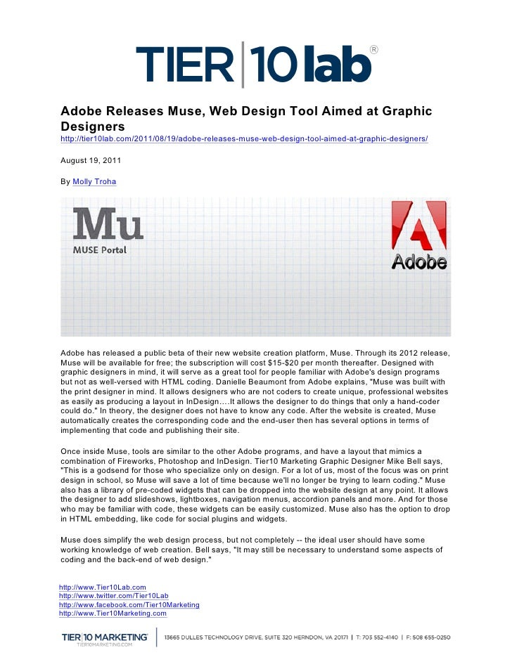 Adobe Releases Muse, Web Design Tool Aimed at GraphicDesignershttp://tier10lab.com/2011/08/19/adobe-releases-muse-web-des...