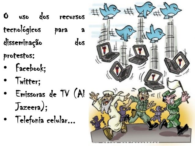 O uso dos recursostecnológicos para adisseminação dosprotestos:• Facebook;• Twitter;• Emissoras de TV (AlJazeera);• Telefo...