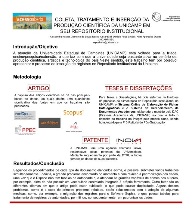 Coleta, tratamento e inserção da produção científica da UNICAMP em seu Repositório Institucional - CONFOA 2017