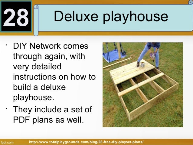 28 free diy playset plans for your backyard for Easy playhouse plans free