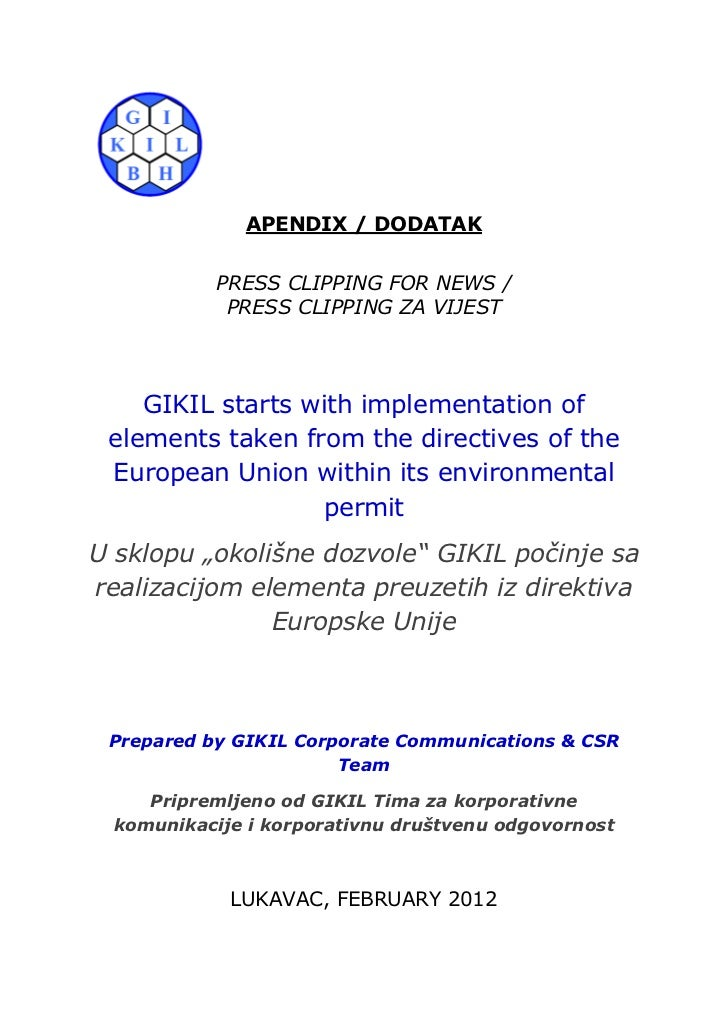 APENDIX / DODATAK            PRESS CLIPPING FOR NEWS /             PRESS CLIPPING ZA VIJEST    GIKIL starts with implement...