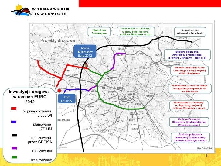 mapa Arena Mistrzostw Euro 2012 Przebudowa ul. Lotniczej  w ciągu drogi krajowej  nr 94 we Wrocławiu - etap I Przebudowa u...