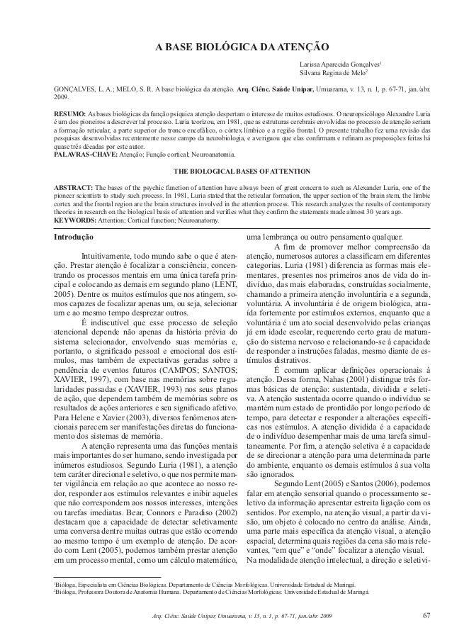 A BASE BIOLÓGICA DA ATENÇÃO                                                                                               ...