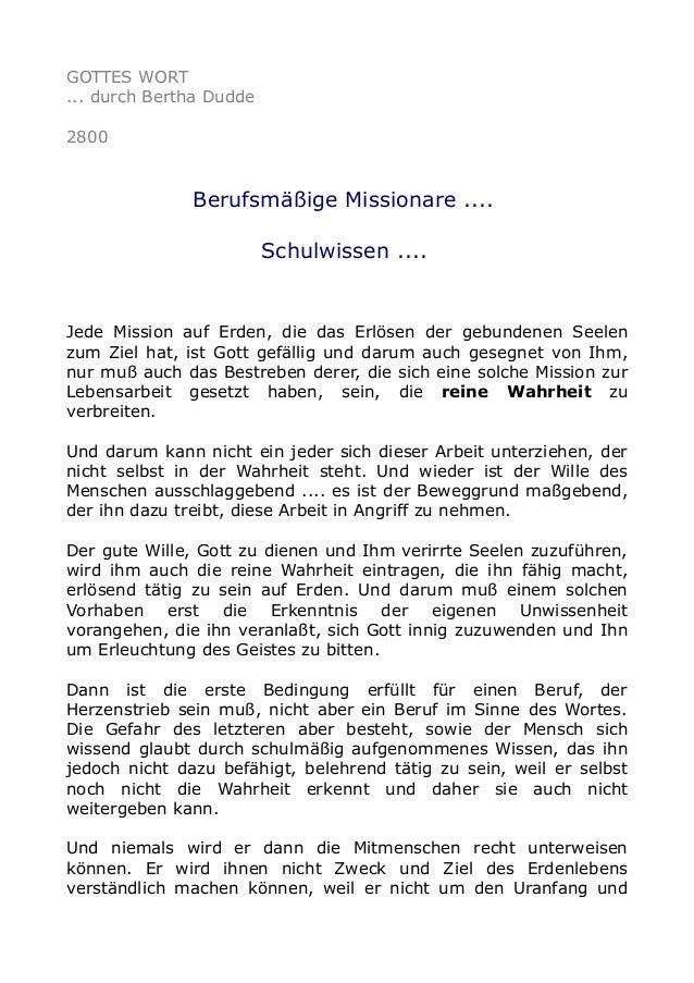 GOTTES WORT ... durch Bertha Dudde 2800 Berufsmäßige Missionare .... Schulwissen .... Jede Mission auf Erden, die das Erlö...