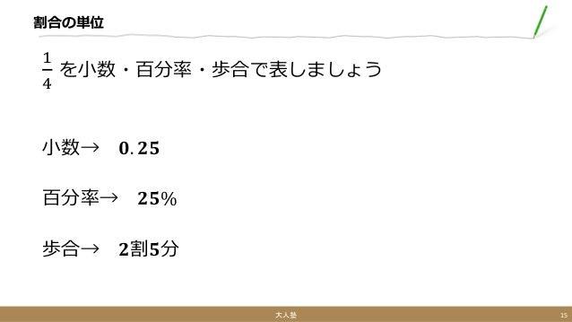 割合の単位 1 4 を小数・百分率・歩合で表しましょう 小数→ 𝟎. 𝟐𝟓 百分率→ 𝟐𝟓% 歩合→ 𝟐割𝟓分 大人塾 15