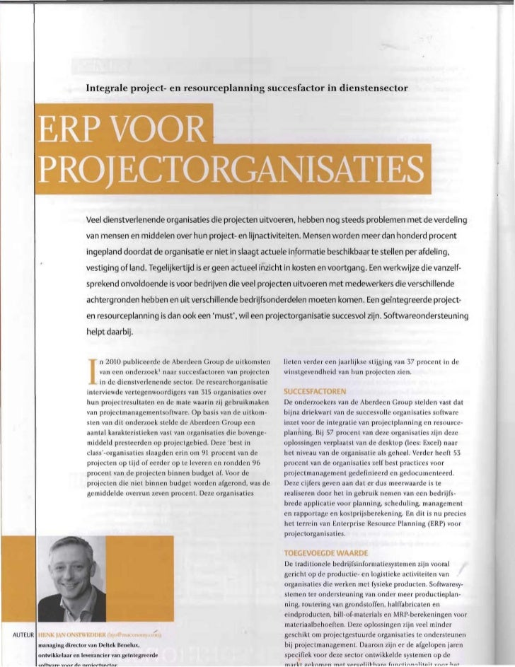 Integrale project- en resourceplanning succesfactor in dienstensector                           Veel dienstverlenende orga...