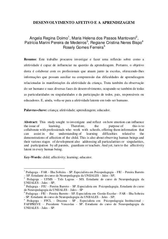 DESENVOLVIMENTO AFETIVO E A APRENDIZAGEM Angela Regina Doimo1 , Maria Helena dos Passos Mantovani2 , Patrícia Marini Perei...
