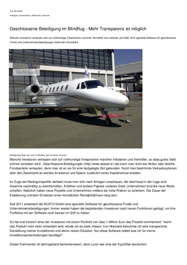 Typ: Neuheiten Kategorie: Unternehmen | Wirtschaft | Finanzen Geschlossene Beteiligung im Blindflug - Mehr Transparenz ist...