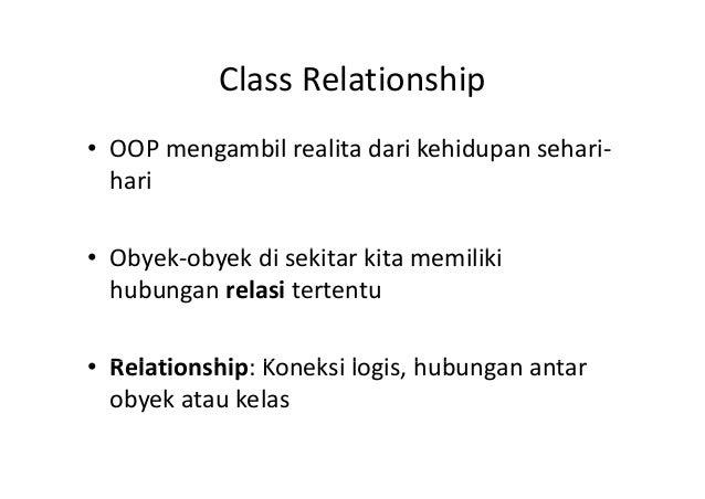 Class RelationshipClassRelationship • OOPmengambil realita dari kehidupan sehari‐ hari Ob k b k di ki ki iliki• Obyek‐ob...