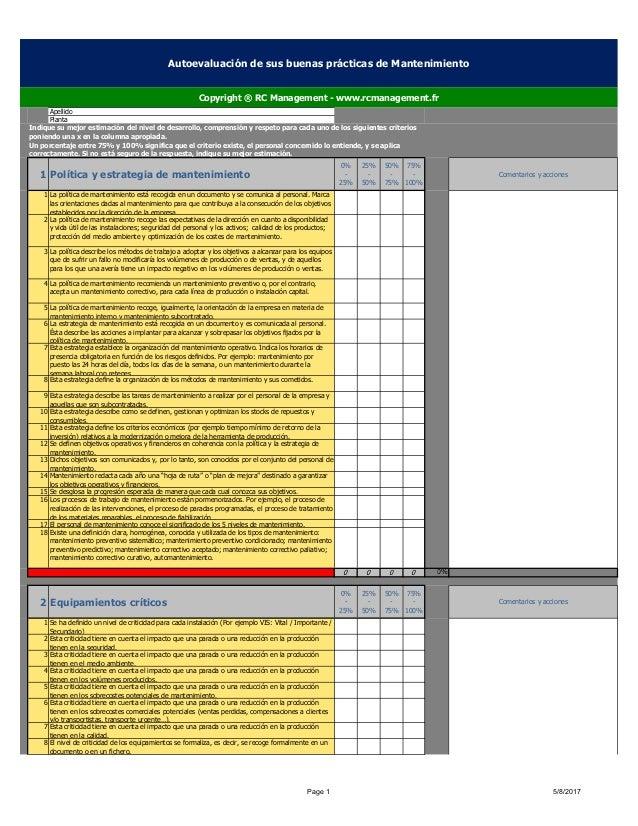 Apellido Planta 1 Política y estrategia de mantenimiento 0% - 25% 25% - 50% 50% - 75% 75% - 100% Comentarios y acciones 1 ...