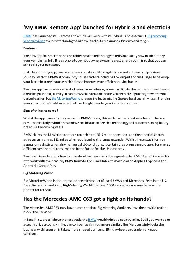 Big Motoring World reviews BMW remote app and Mercedes AMG