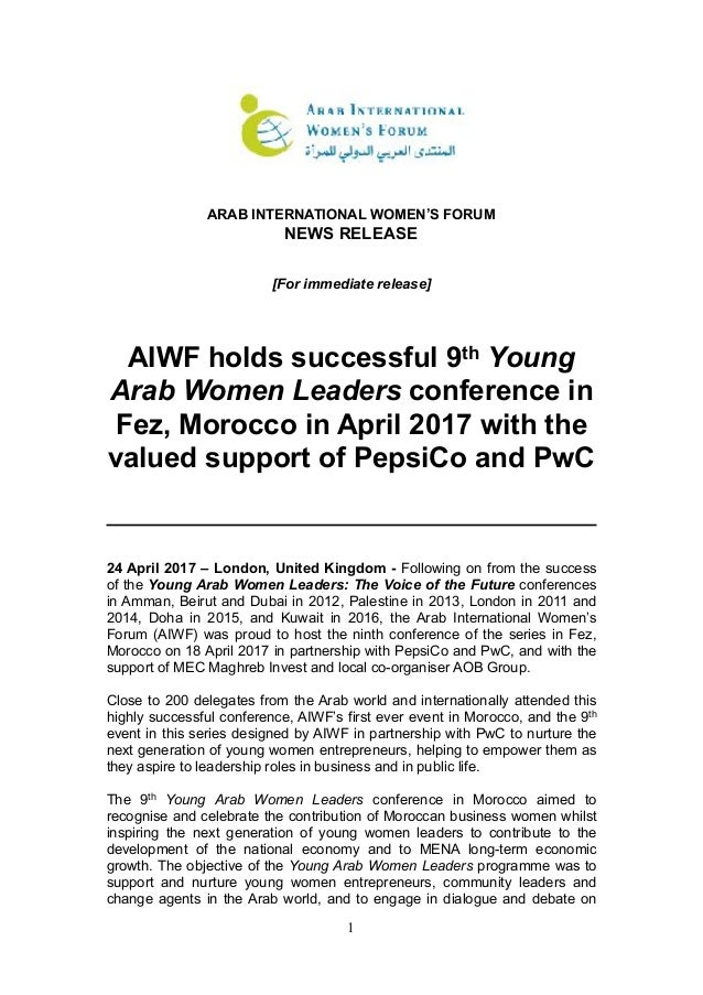 ! ARAB INTERNATIONAL WOMEN'S FORUM NEWS RELEASE [For immediate release] AIWF holds successful 9th Young Arab Women Leaders...