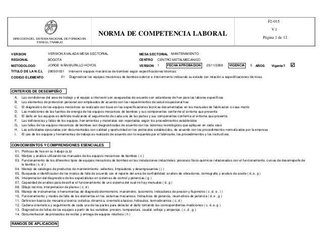VERSION MESA SECTORIAL REGIONAL CENTRO METODOLOGO VERSION AVALADA MESA SECTORIAL MANTENIMIENTO BOGOTA TITULO DE LA N.C.L 2...