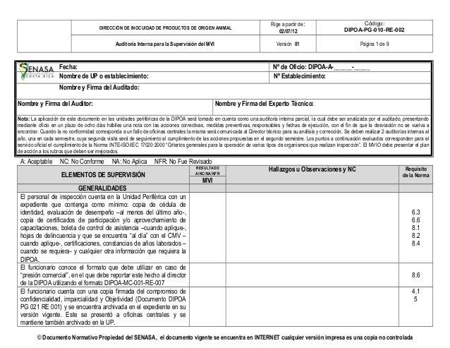 DIRECCIÓN DE INOCUIDAD DE PRODUCTOS DE ORIGEN ANIMAL Rige a partir de: 02/07/12 Código: DIPOA-PG-010-RE-002 Auditoría Inte...