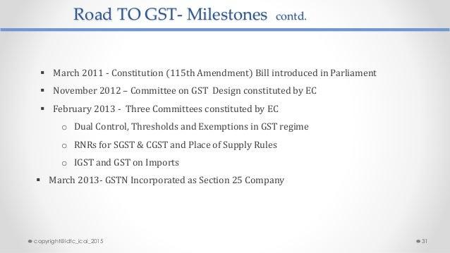 Road TO GST- Milestones contd.  March 2011 - Constitution (115th Amendment) Bill introduced in Parliament  November 2012...