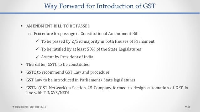 Way Forward for Introduction of GST  AMENDMENT BILL TO BE PASSED o Procedure for passage of Constitutional Amendment Bill...