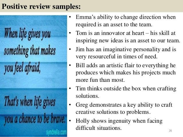 performance reviews samples