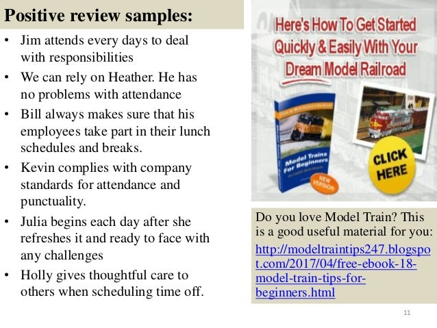 Appraisal comments sample.