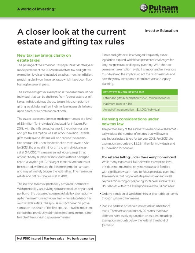 A closer look at the currentestate and gifting tax rulesInvestor EducationNew tax law brings clarity onestate taxesThe pas...